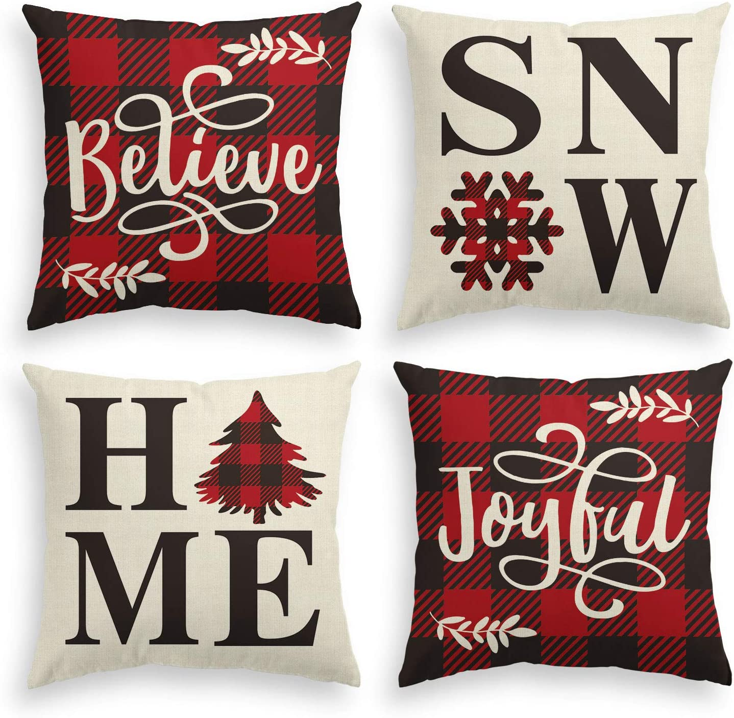 AVOIN Buffalo Plaid Believe Joyful Home Snow Throw Pillow Cover, 20 x 20 Inch Christmas Winter Holiday Snowflake Cushion Case Decoration for Sofa Couch Set of 4