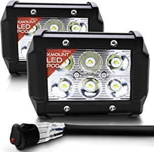 OPT7 CREE xMount LED Pod Pair with Wiring Harness (2 Pcs - 18w) Fog Light Work Lamp Spot Light for Off-Road ATV Utility Truck SUV