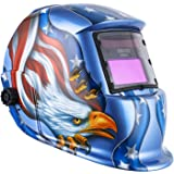 Solar Powered Welding Helmet Auto Darkening Hood with Adjustable Shade Range 4/9-13 for Mig Tig Arc Welder Mask Blue Eagle Design