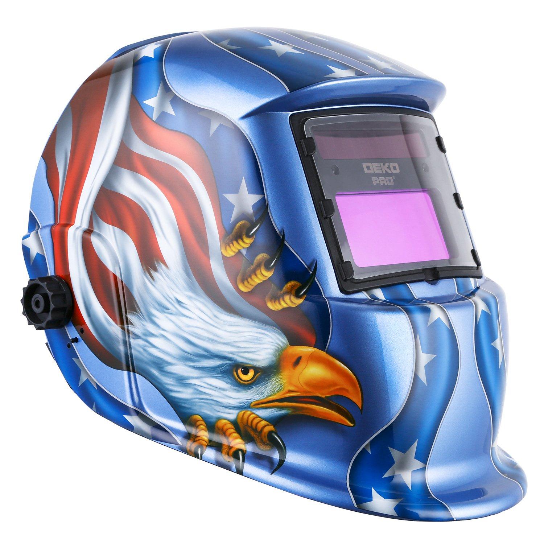 Solar Powered Welding Helmet Auto Darkening Hood with Adjustable Shade Range 4/9-13 for Mig Tig Arc Welder Mask Blue Eagle Design by DEKOPRO