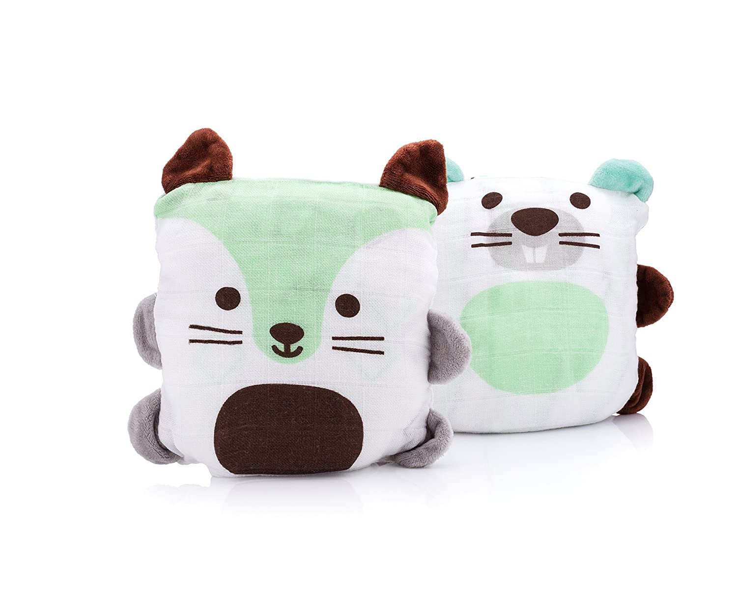 Ubbi 2-in-1 Convertible Baby Pillow and Cotton Blanket, Cat/Dog 10702