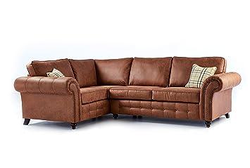 Oakridge Large Leather Corner Sofa - Tan (Left Hand Facing): Amazon ...