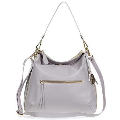 bc1816f01e Image Unavailable. Image not available for. Color  Giordano Italian Made  Light Gray Leather Hobo Bag ...