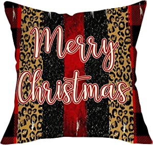 FBCOO Merry Christmas Decorative Throw Pillow Cover, Xmas Cushion Case Buffalo Plaid Check Red Black Home Decorations Sign, Winter Holiday Pillowcase Leopard Decor for Sofa Couch 18x18 Cotton Linen
