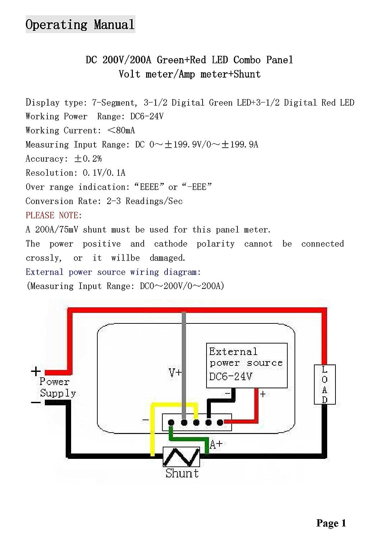 Dc 200v 200a Green Red Digital Led Panel Meter Volt Wiring Diagram Ampere Multimeter Shunt Resistant Diy Tools