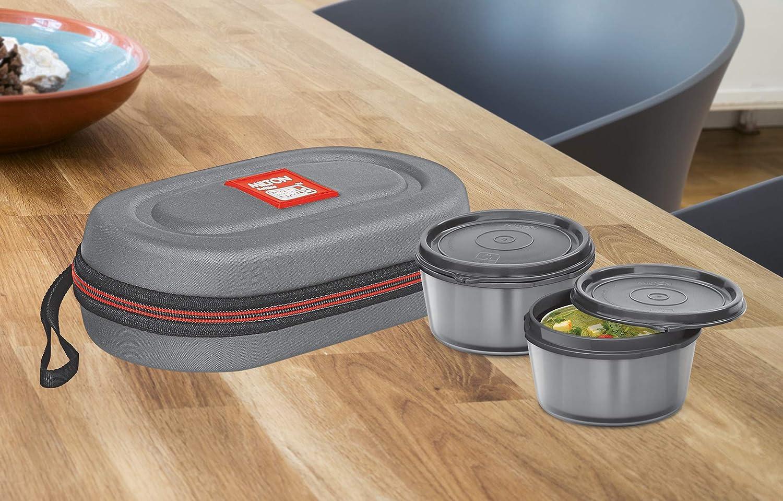 Milton Nutri Stainless Steel Insulated Tiffin Set, 350ml, Set of 2, Grey