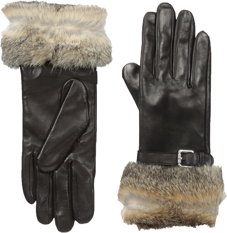 RUDSAK Womens Nahla Leather Gloves with Fur