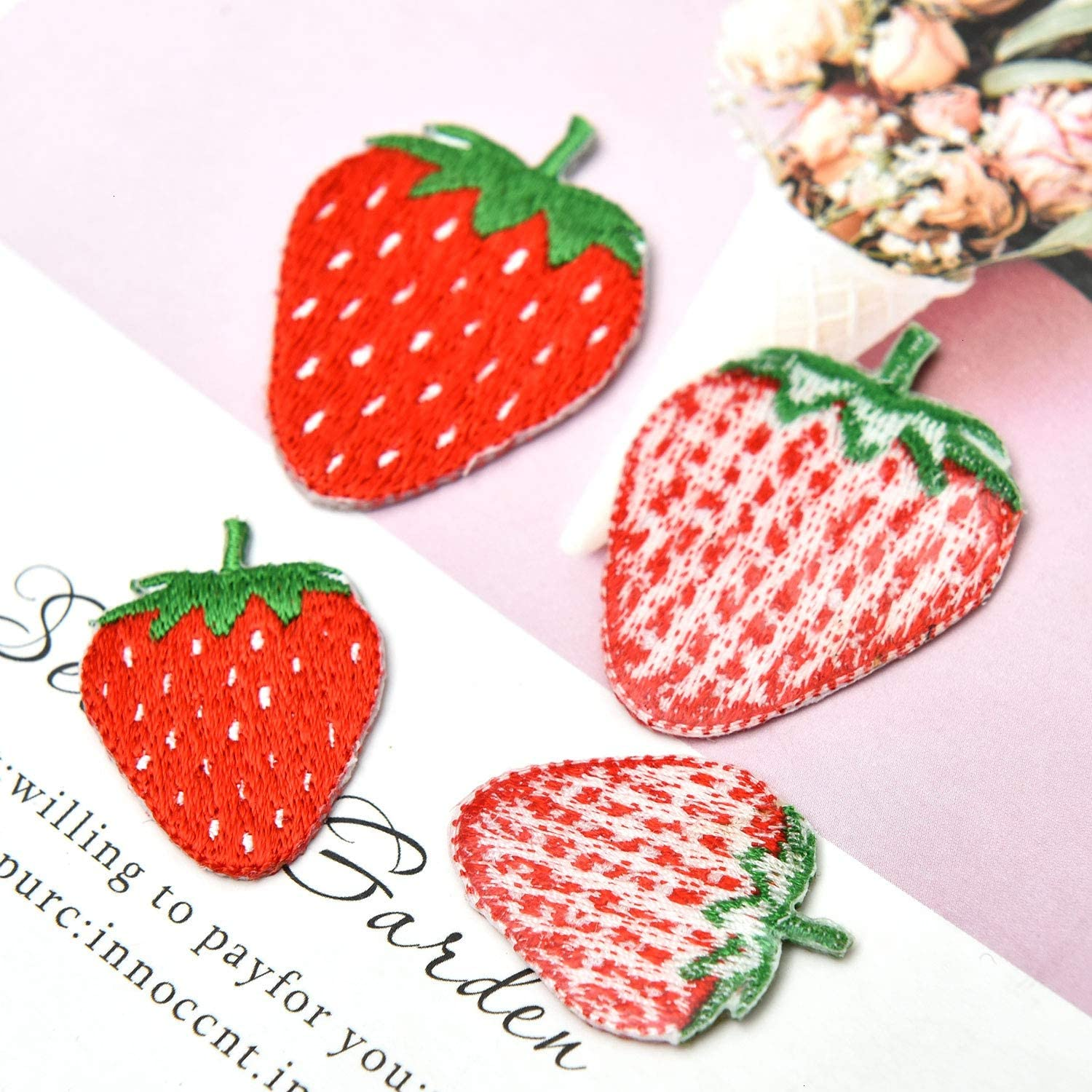 2 VINTAGE  RED STRAWBERRY APPLIQUES CRAFT FREE SHIPPING