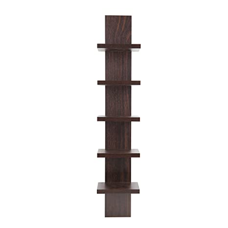 Danya B QBA486 Floating Utility Column Spine Wall Shelving Unit for Small  Spaces- Walnut