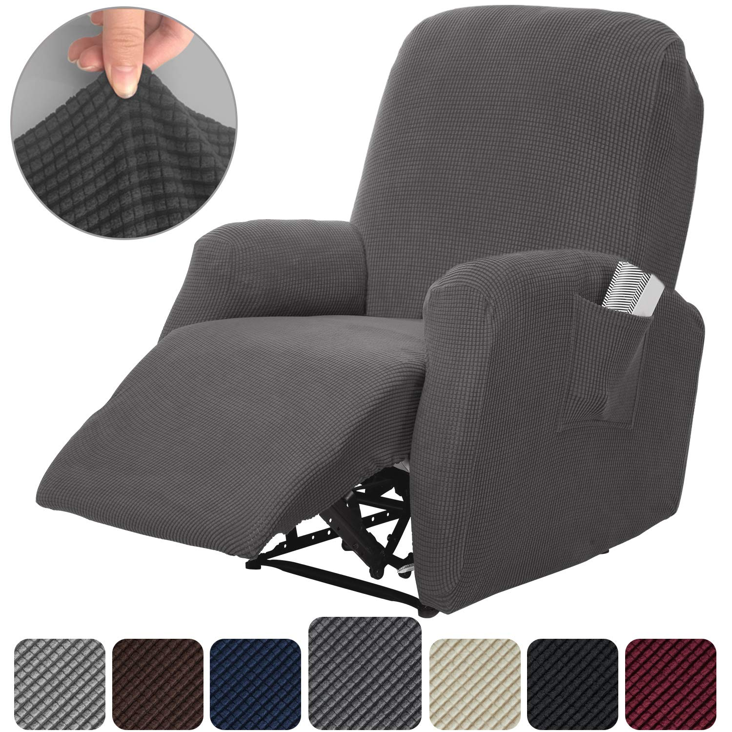 Rose Home Fashion RHF 4 Separate Piece Stretch Recliner Slipcovers, Recliner Chair Cover, Recliner Cover Furniture Protector Elastic Bottom, Recliner Slipcover with Side Pocket (Dark Grey-Recliner)