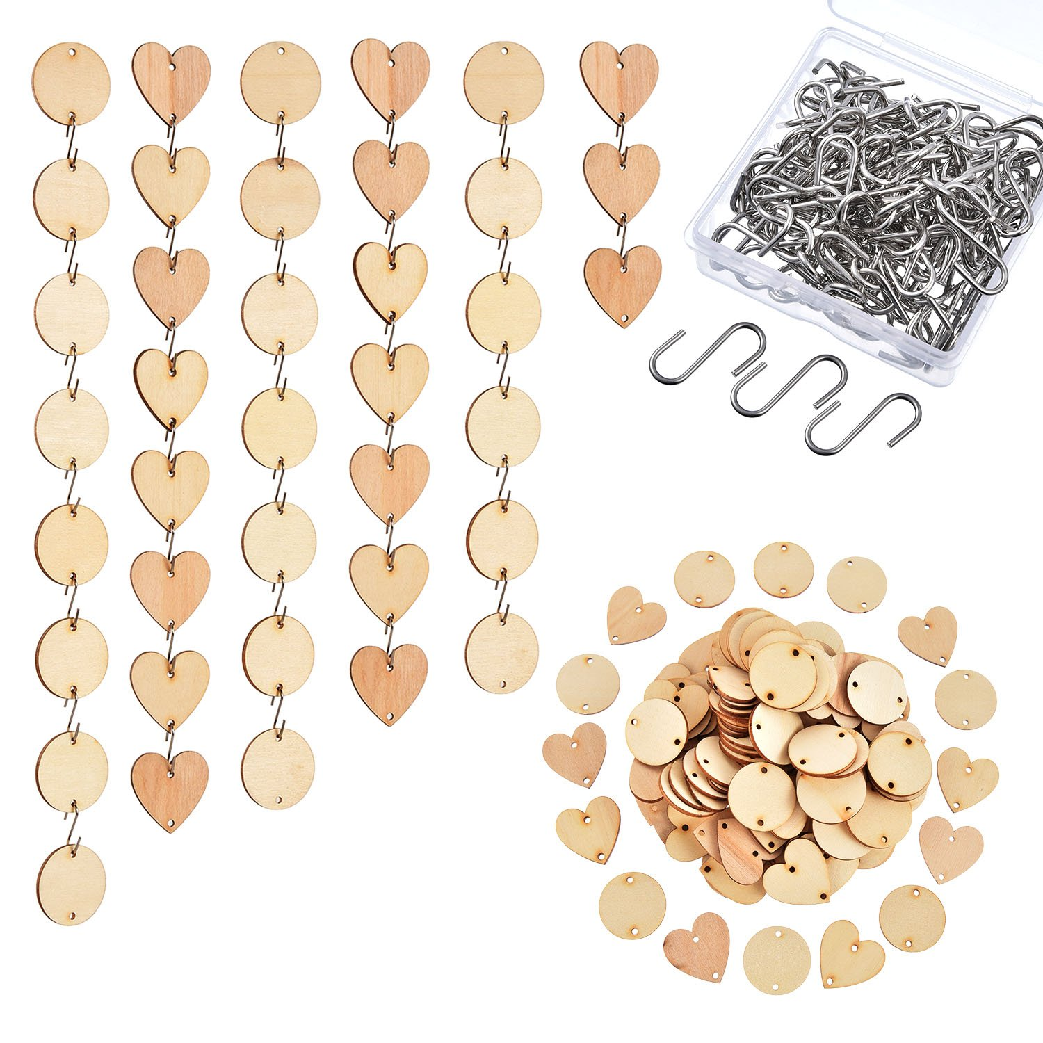 Hicarer 240 Pieces in Total, Wooden Circles Wooden Heart Tags with Holes and S Hook Connectors for Birthday Boards, Valentine, Chore Boards and Crafts
