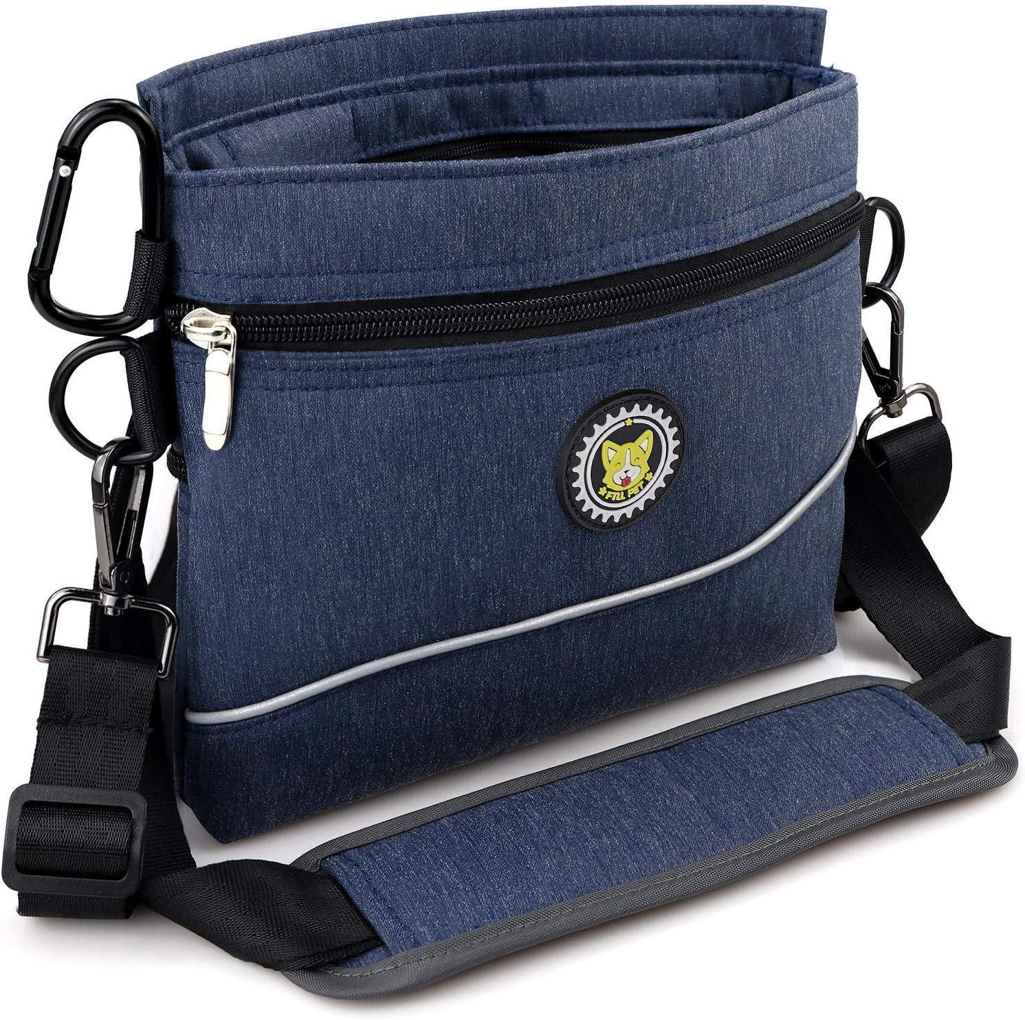 Viklluyr Dog Treat Pouch Bag with Magnetic Closure, Dog Food Carrier with Removable Inner Pocket, Built-in Poop Bag Dispenser Perfect Dog Training Bag for Agility Training - Including Carabiner