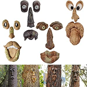 Punkxiong Tree Faces Decor Outdoor,Old Man Tree Hugger,Easter Decorations Sculpture Garden Peeker Bark Ghost Face Face Decor Outdoor Whimsical Sculpture,Yard Art Decoration,Garden Decor Peeker 4Pack