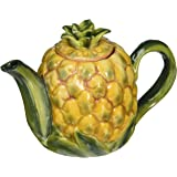 CG 10334 Yellow Pineapple Shape Design with Leaves Teapot Collectible