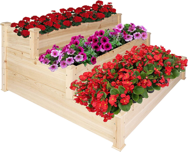 "LUCKYERMORE 3 Tier Raised Garden Bed Kit Wooden Planter Box Heavy Duty Solid Fir Wood for Planting Flower Vegetable Fruit in Patio Backyard Balcony Outside 47""x47""x21"",Cama de jardín elevada"