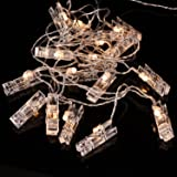 Clip Photo Display Wire 3 Meters 20 LED Fairy Lights 3 X AA Clear Cable Battery Powered for Desktop Decoration (Warmwhite)