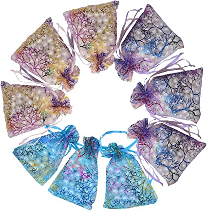 Wedding Drawstring Pattern Organza Party Favor Gift Bags Candy Jewelry Pouches