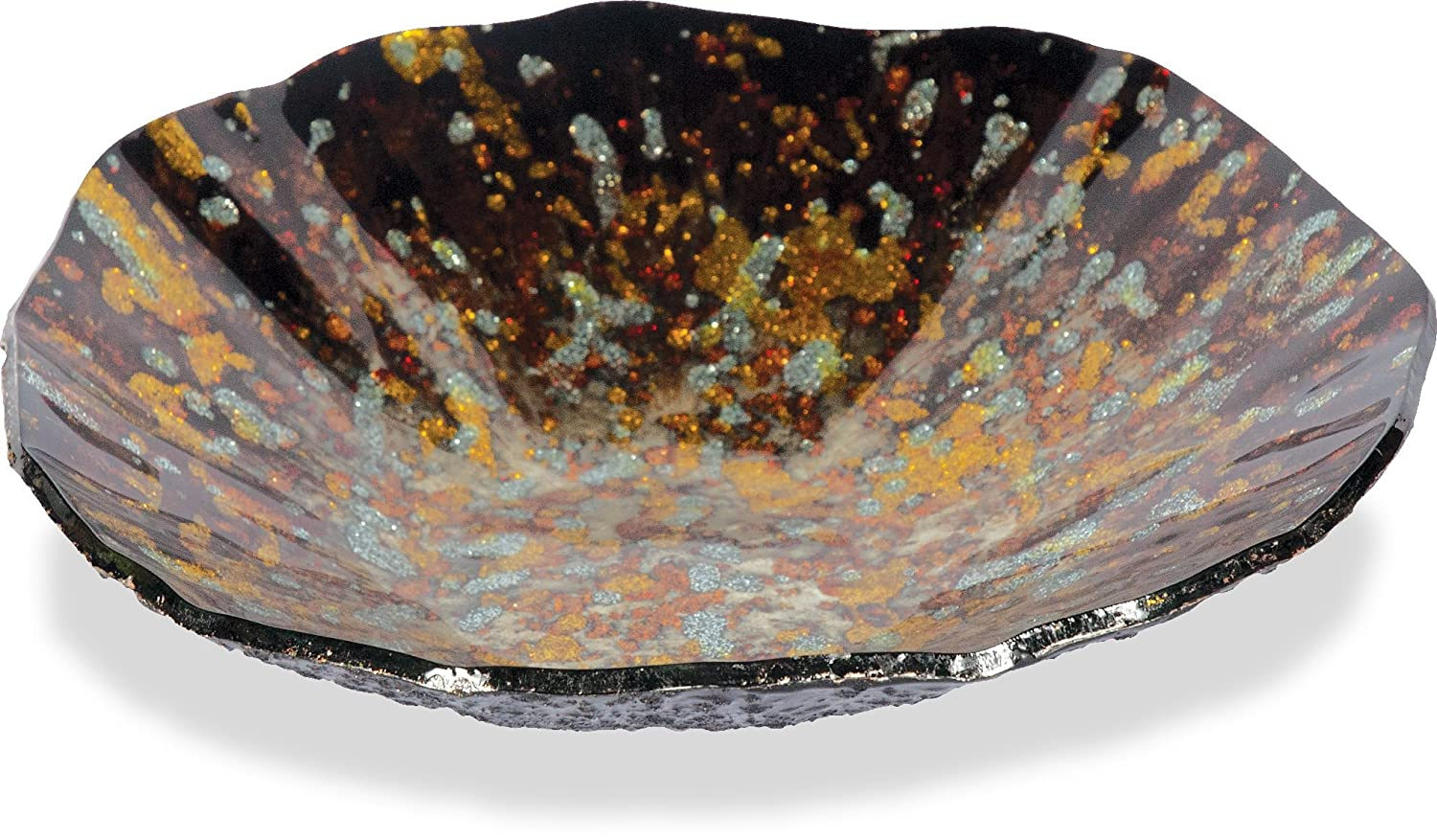 12-1//2-Inch AngelStar 19062 Handmade and Hand-Painted Glass Golden Brown Plate