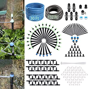 YINDUDU Drip Irrigation Kit Garden Greenhouse Micro Irrigation System Blank Distribution Tubing Hose Nozzle Sprinkler Sprayer Plant Watering Misting Cooling Flower Bed Patio Lawn (132Ft+30Ft Main)