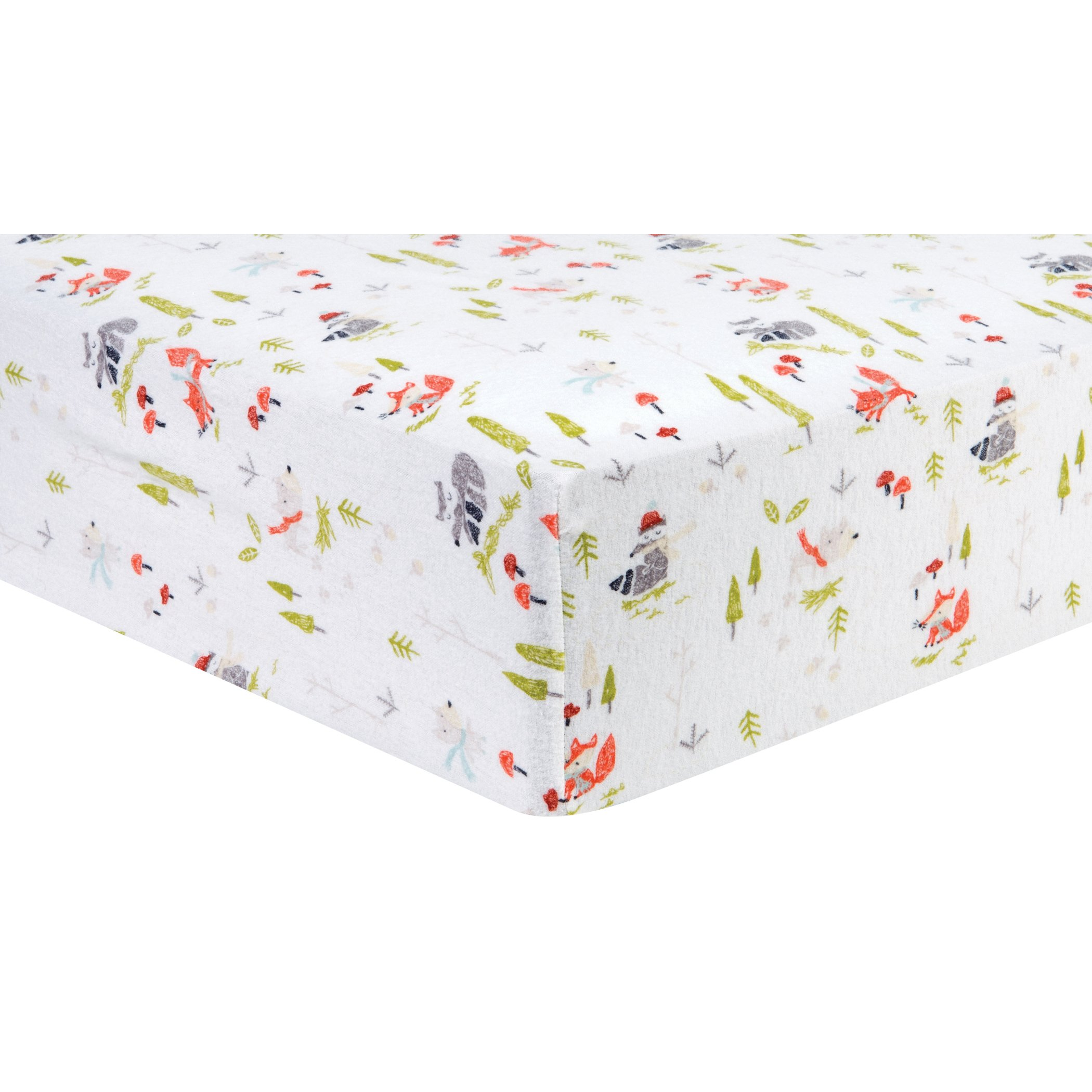 Trend Lab Winter Woods Deluxe Flannel Fitted Crib Sheet, Multi