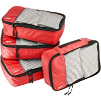 AmazonBasics Small Packing Cubes - 4 Piece Set, Red
