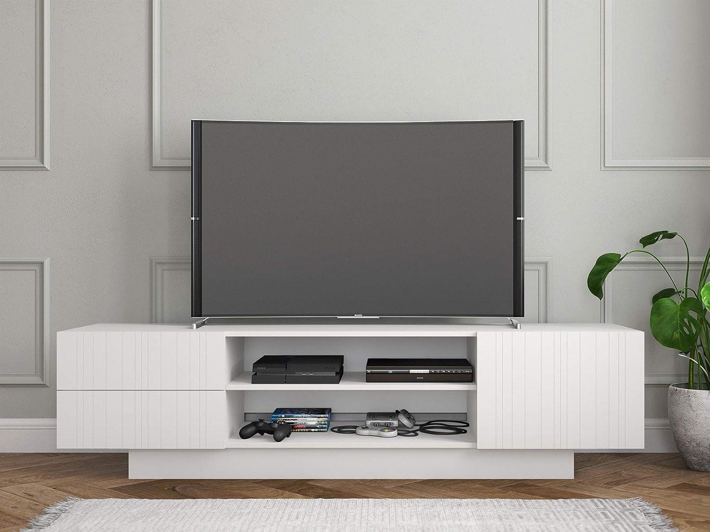 Nexera Marble, White 72-inch TV Stand, White Matte Lacquer and White Melamine,