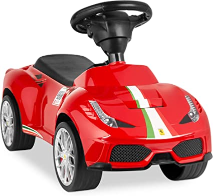 Amazon Com Best Choice Products Kids Licensed Ferrari 458 Ride On Push Car W Steering Wheel Horn Red Toys Games