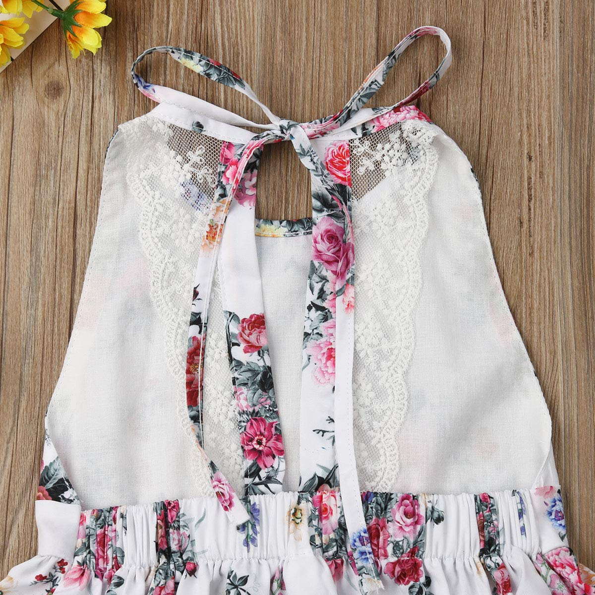 Toddler Girls Sleeveless Sundress,One Piece Floral Print Backless Lace Princess Party Dress Outfits Summer Clothes