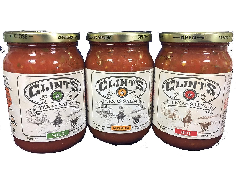 Clint's Texas Salsa Sampler 16oz Jar (Pack of 3 Different Flavors)