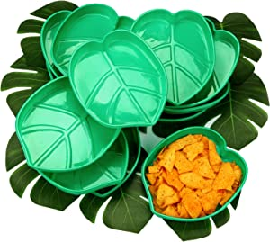 Palm Leaf Snack Tray Hawaii Style Reusable Food Tray with Tropical Imitation Green Plant Leaves, Cookies Chips, Candy Dip, for Jungle Island Luau Party Theme Decorations Birthdays 12 Sets, 10 x 8 Inch