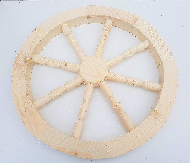 nattoyz IN LEGNO CARRELLO RUOTA ornamentale legno carrello Carrozza Ruote 59cm casa decorazione giardino
