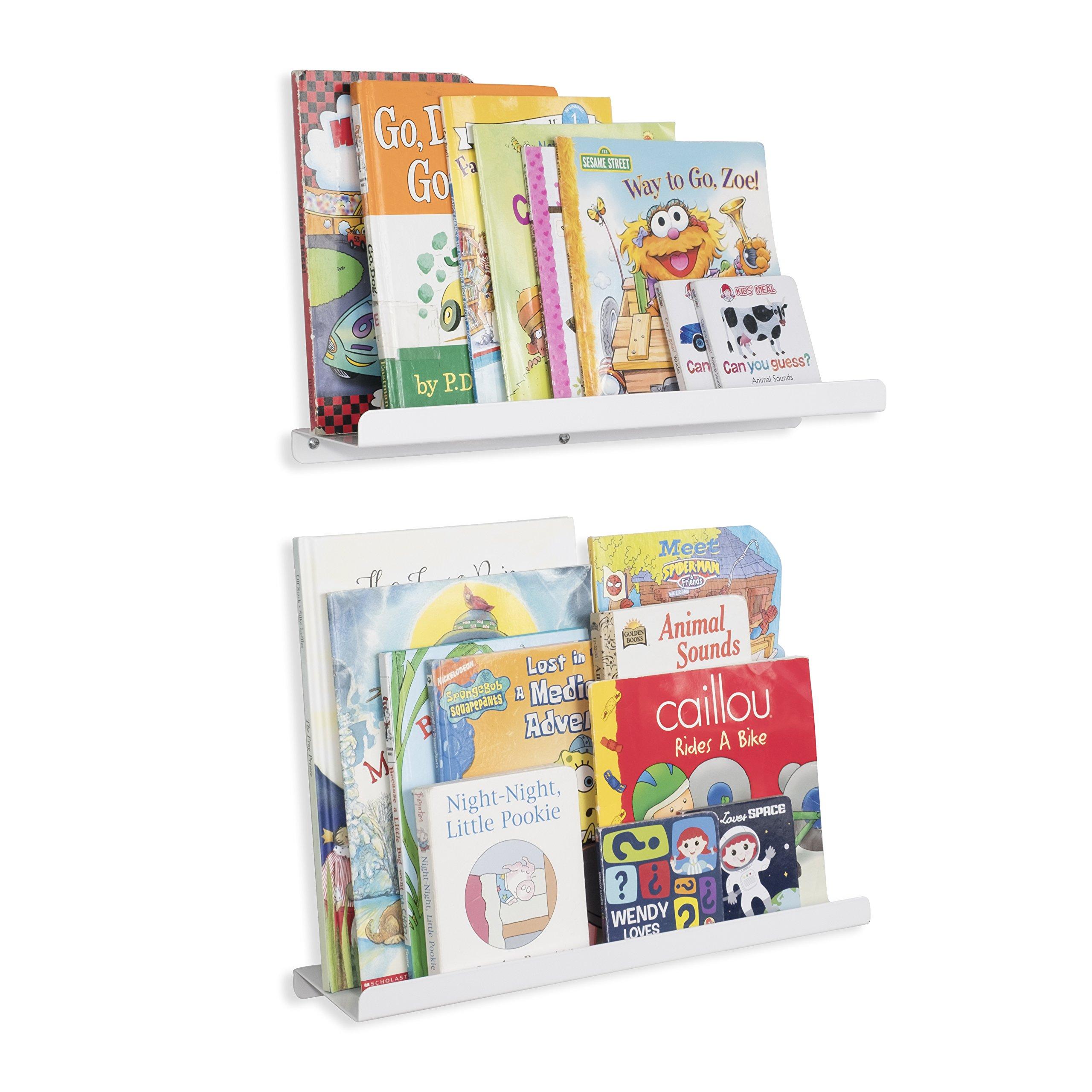 Wallniture Kids Floating Bookshelves - Nursery Room Decor Bookcase Display Metal Ledges White 17 Inch Set of 2