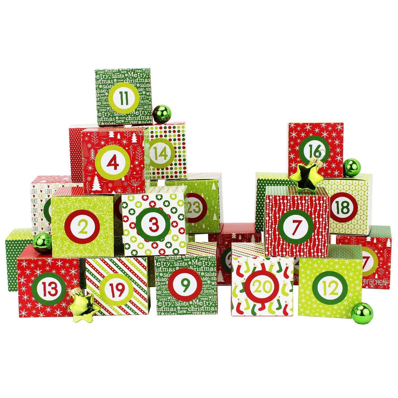 Set de boîtes calendrier de l'Avent DIY – 24 boîtes colorées à poser et remplir – 24 boîtes - Rouge-Vert Papierdrachen