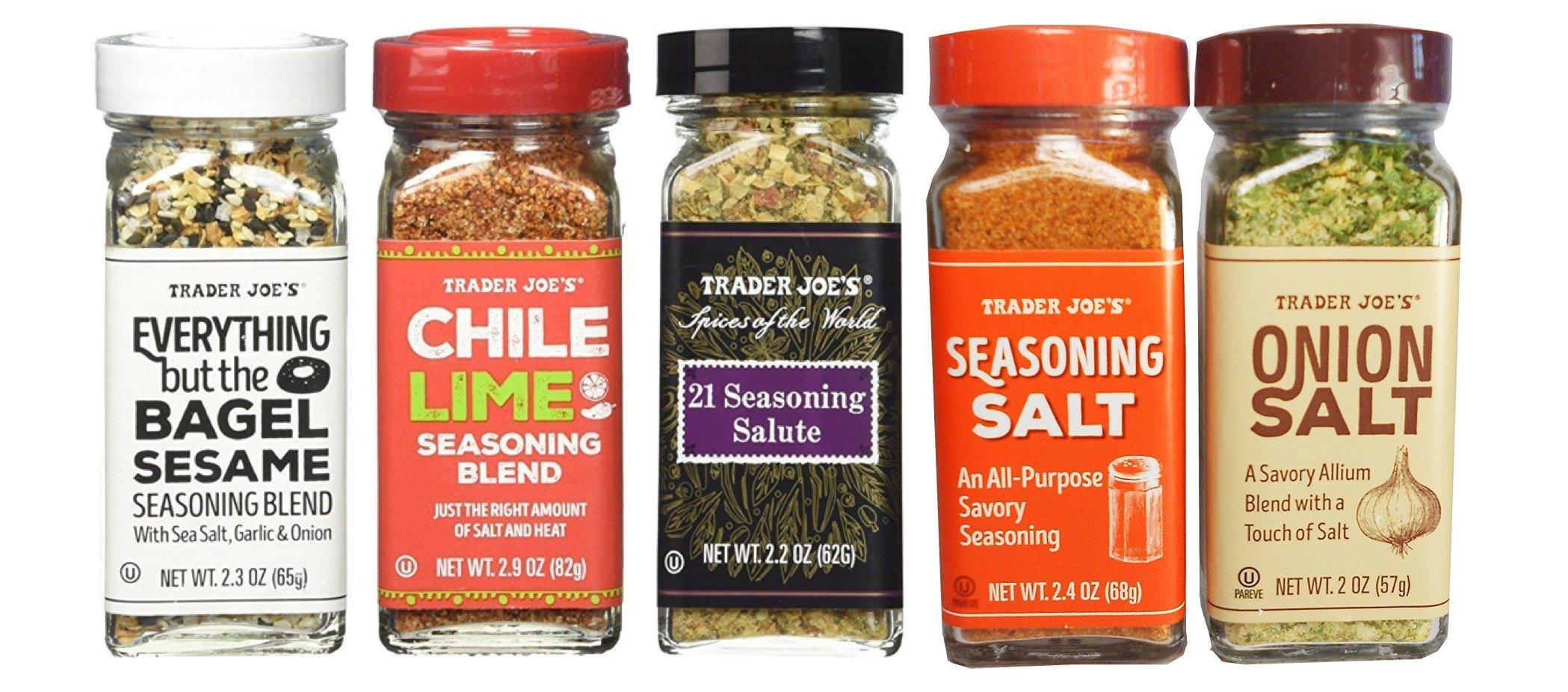 Trader Joe's Seasoning - 21 Salute Seasoing, Chile Lime,Seasoning Salt, Onion Salt and Everything but the bagel Seasoning
