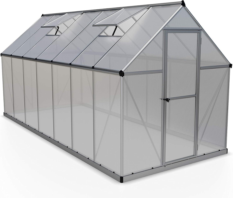 Palram HG5014 Mythos Hobby Greenhouse, 6' x 14' x 7', Silver