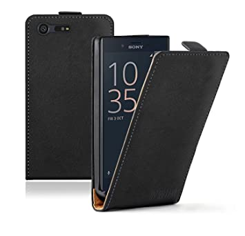 promo code d69df 4389f Membrane Sony Xperia X Compact Case Black PU Leather: Amazon.co.uk ...