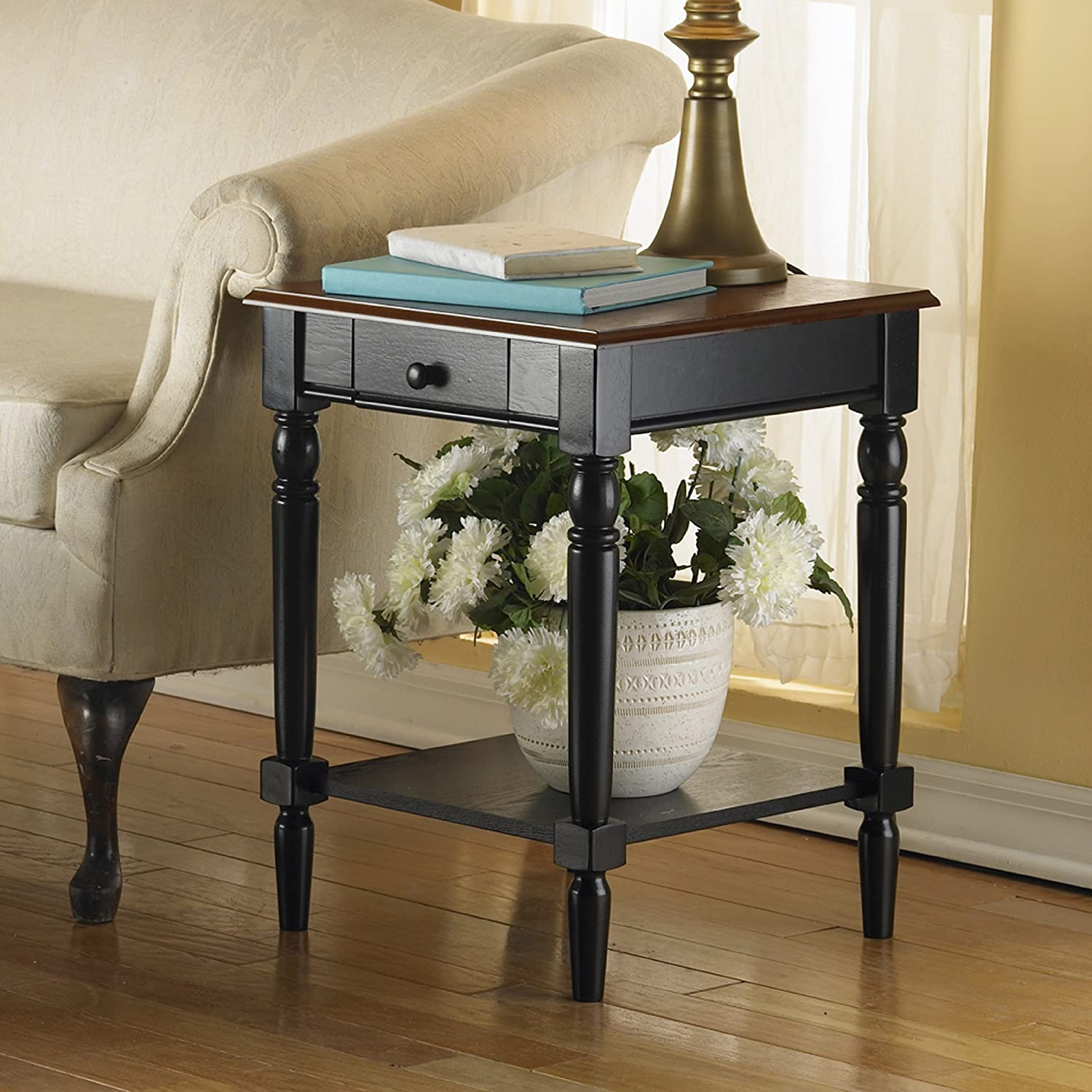 Amazon.com: Convenience Concepts French Country End Table With Drawer And  Shelf, Cherry: Kitchen U0026 Dining