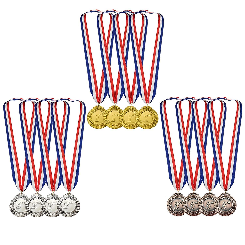 MOMOONNON 12ピース 金属製 勝利 ゴールド シルバー ブロンズ 賞 メダル 赤 白 青 首リボン オリンピックスタイル 2インチ B07JFDY1RZ