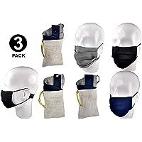 3 CUBREBOCAS Doble vista 100% LINO – Lavable – PUENTE NASAL ajustable – SOPORTE TRASERO con elástico para liberar presión de orejas – CÓMODO – PLIEGUES AJUSTABLES al todo tipo de rostro – UNISEX – ELEGANTE – DOBLE capa de LINO – Prueba de aerosol SUPERADA – SEGURO – BOLSA de REGALO en color trigo para la PORTABILIDAD del cubrebocas. (Negro, Marino y Gris)
