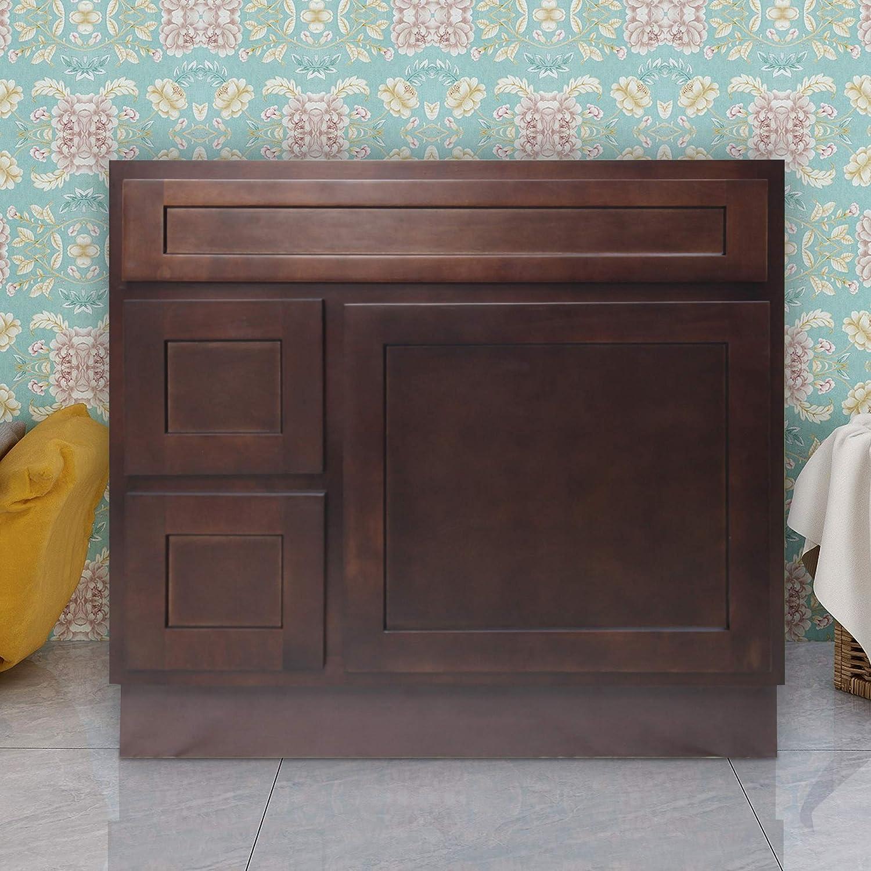 Vanity Art 36 Inches Bathroom Vanity Cabinet Solid Wood Brown Finish Single Shutter Door 2 Extension Drawers Undermount Sink Cabinet Va4036 2lb Kitchen Dining Amazon Com