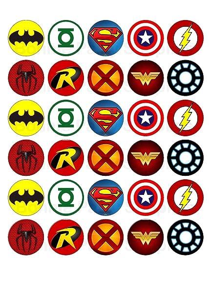Amazon 30 X Superhero Logos Edible Cupcake Toppers Toys Games