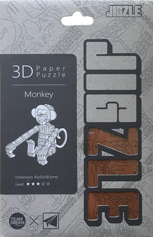 Laser Cut Miniature Animals Team Green JIGZLE Monkey 3D Paper Puzzle DIY Kit