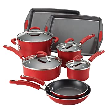 Rachael Ray Porcelain Enamel II Nonstick 12-Piece Cookware Set: Amazon.es: Hogar
