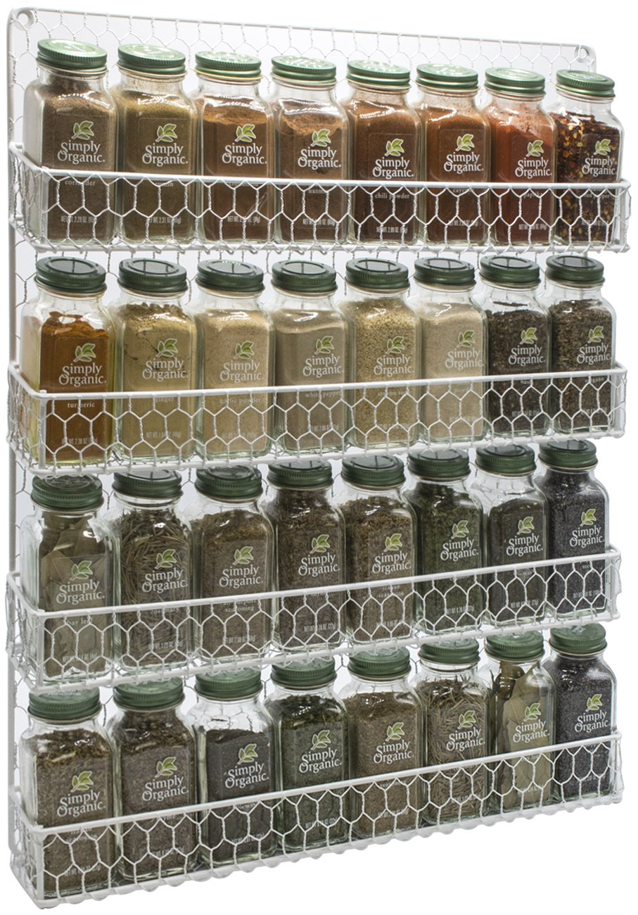Sorbus Spice Rack Organizer [4 Tier] Country Rustic Chicken Herb Holder, Wall Mounted Storage Rack, Great for Storing Spices, Household Items and More (White) by Sorbus