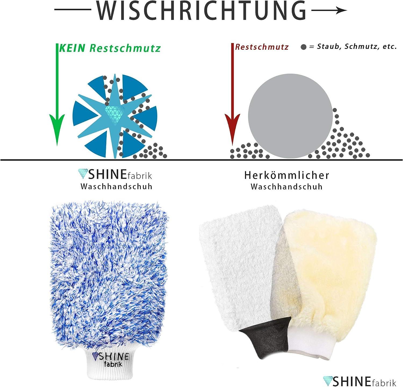 Shinefabrik Premium Microfaser Autowaschhandschuh Felgenhandschuh Der Waschhandschuh Für Die Deine Autoreinigung Autopflege Für Innen Sowie Außen Blau Weiß Auto