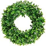 """Pauwer Artificial Green Leaves Wreath 17"""" Decorative Welcome Green Wreath Greenery Schefflera Wreath Summer Spring Front Door"""
