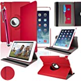 SAVFY New Apple iPad Air (2013 Version) Red Premium PU Leather 360 Degree Rotating Stand Smart Case Cover Skin 2 Card Slots for Apple iPad Air with Built-in Magnetic Auto Sleep Wake Feature, EXTRA Gift: SAVFY Stylus Pen + SAVFY Screen Protector Film (Available in Multiple Colors)