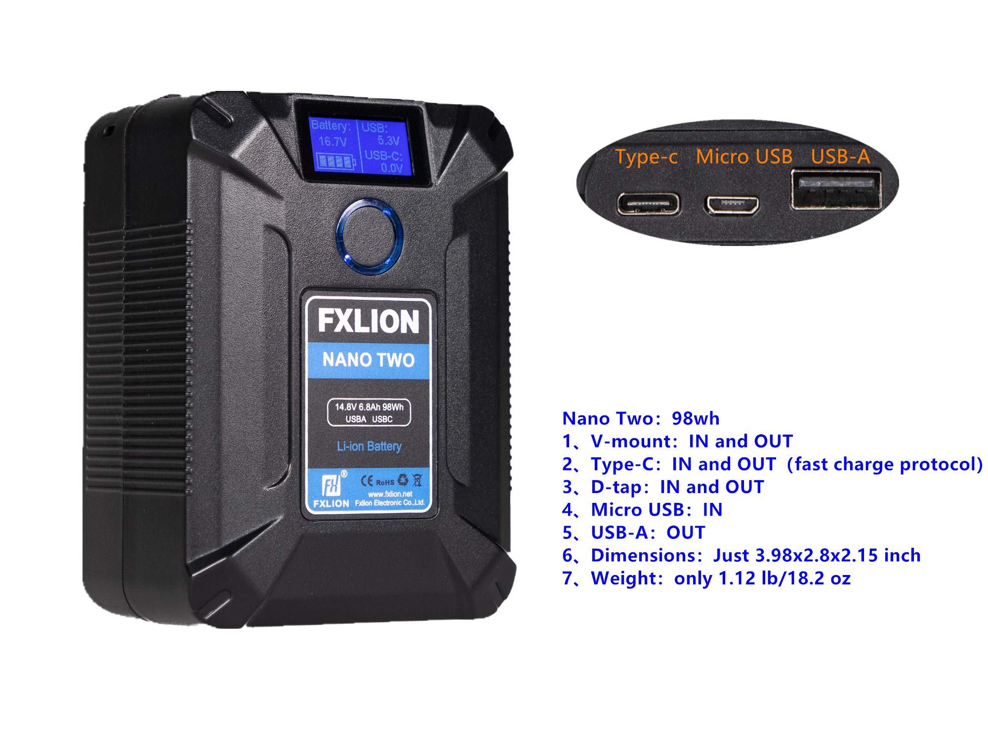 Fxlion Nano Two 98WH Tiny V-Mount/V-Lock Battery with Type-C, D-tap, USB A, Micro USB by FXLION