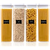 Airtight Food Storage Containers, Vtopmart 4 Pieces BPA Free Plastic Spaghetti Containers with Easy Lock Lids, for Kitchen Pa