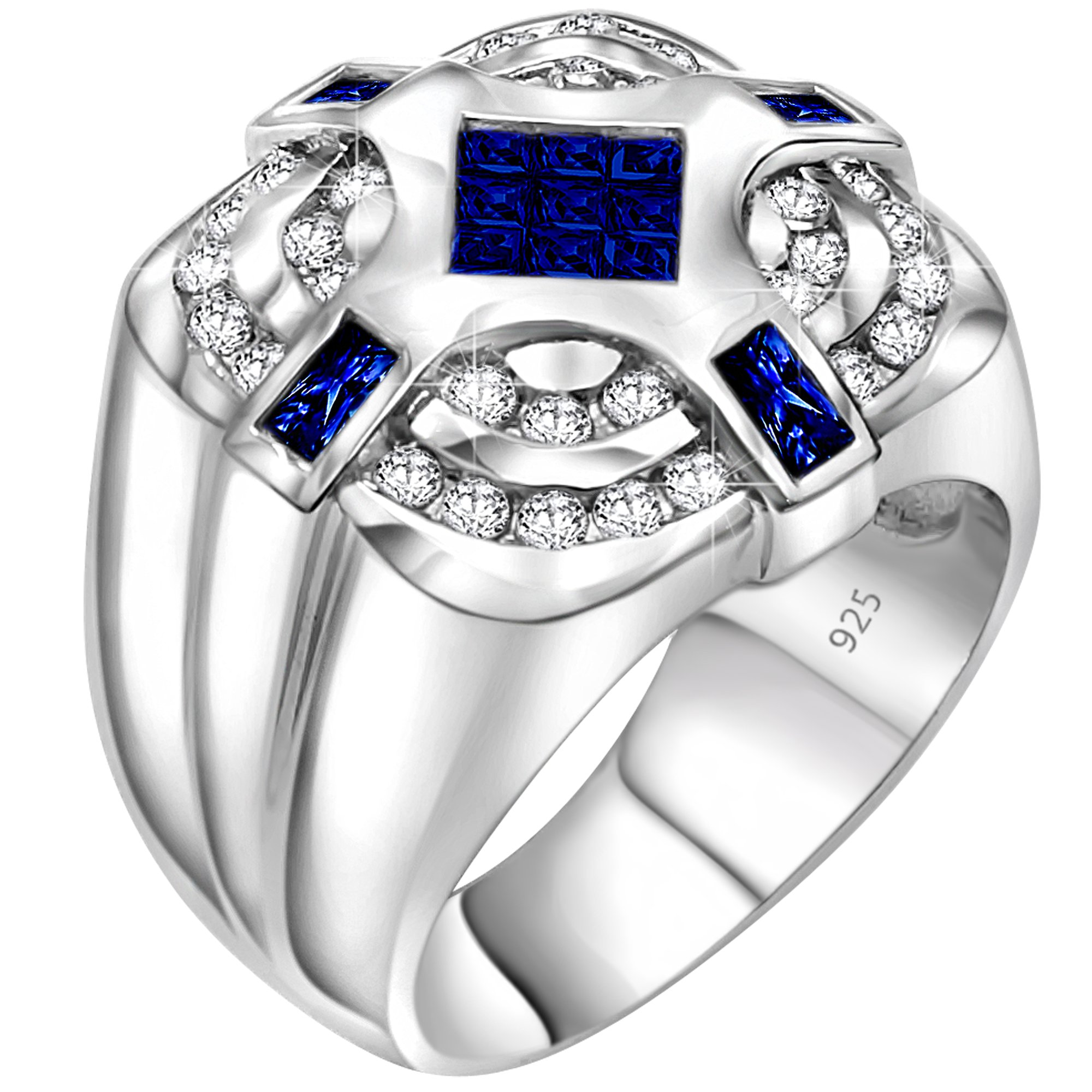Men's Sterling Silver .925 Designer Ring with Invisible Set Center Dark Blue Cubic Zirconia (CZ) Stone Surrounded by 36 CZ Stones, Platinum Plated Jewelry (10)